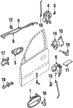 Imagen de Conjunto de pestillo de puerta Original para Daewoo Lanos 2000 1999 Daewoo Nubira 1999 Marca DAEWOO Número de Parte 96305421