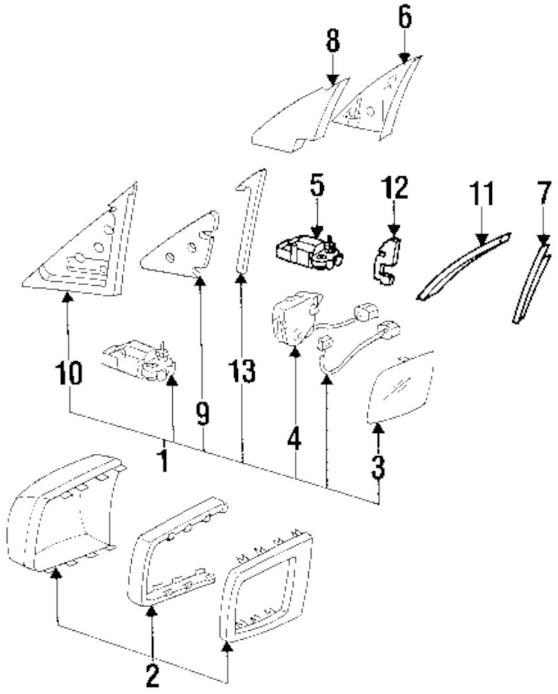 Imagen de Conjunto Espejo de puerta para Mercedes-Benz 500SEL 1993 Marca MERCEDES OEM Número de Parte 1408108316