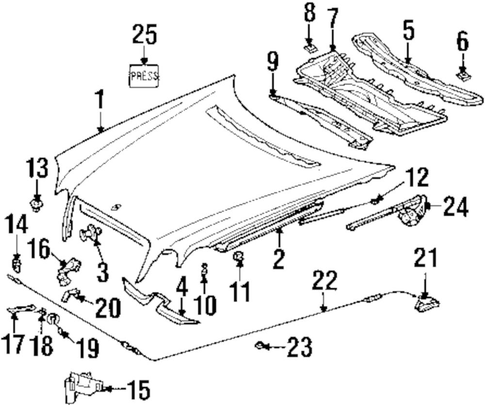 Imagen de Cable de Liberación del Capó para Mercedes-Benz E420 1997 Marca MERCEDES OEM Número de Parte 210 880 01 59