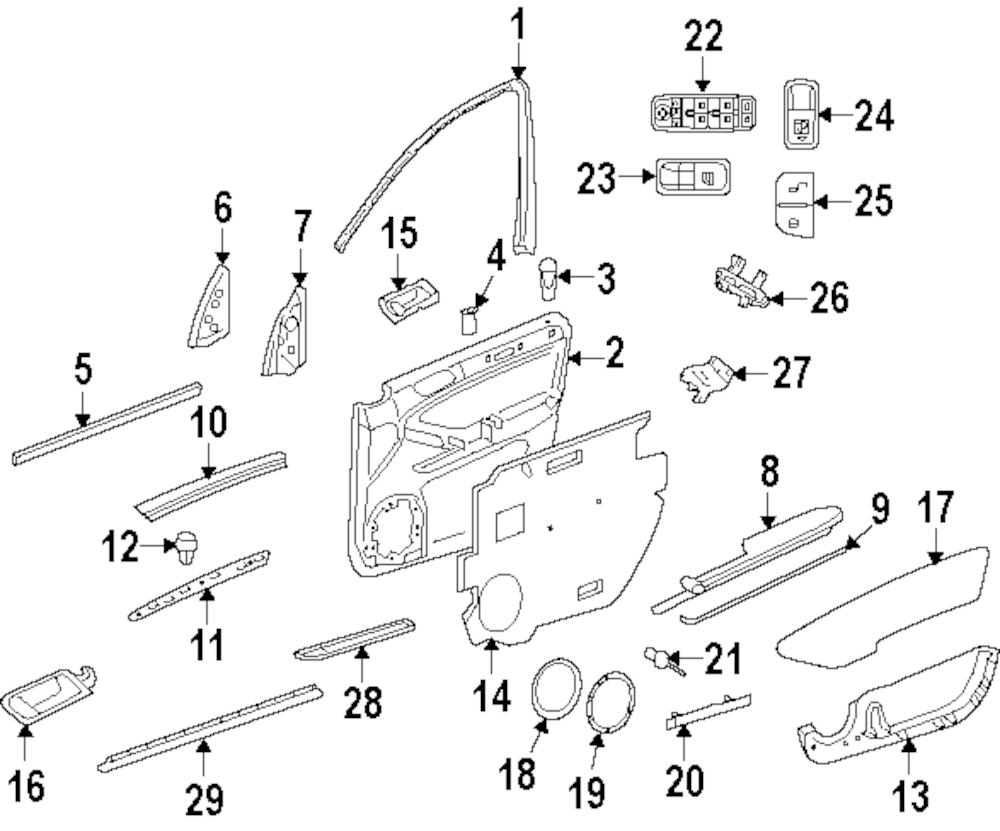 Imagen de Interruptor de vidrio eléctrico de la puerta para Mercedes-Benz GL450 2011 Marca MERCEDES OEM Número de Parte 251 830 01 90 9051