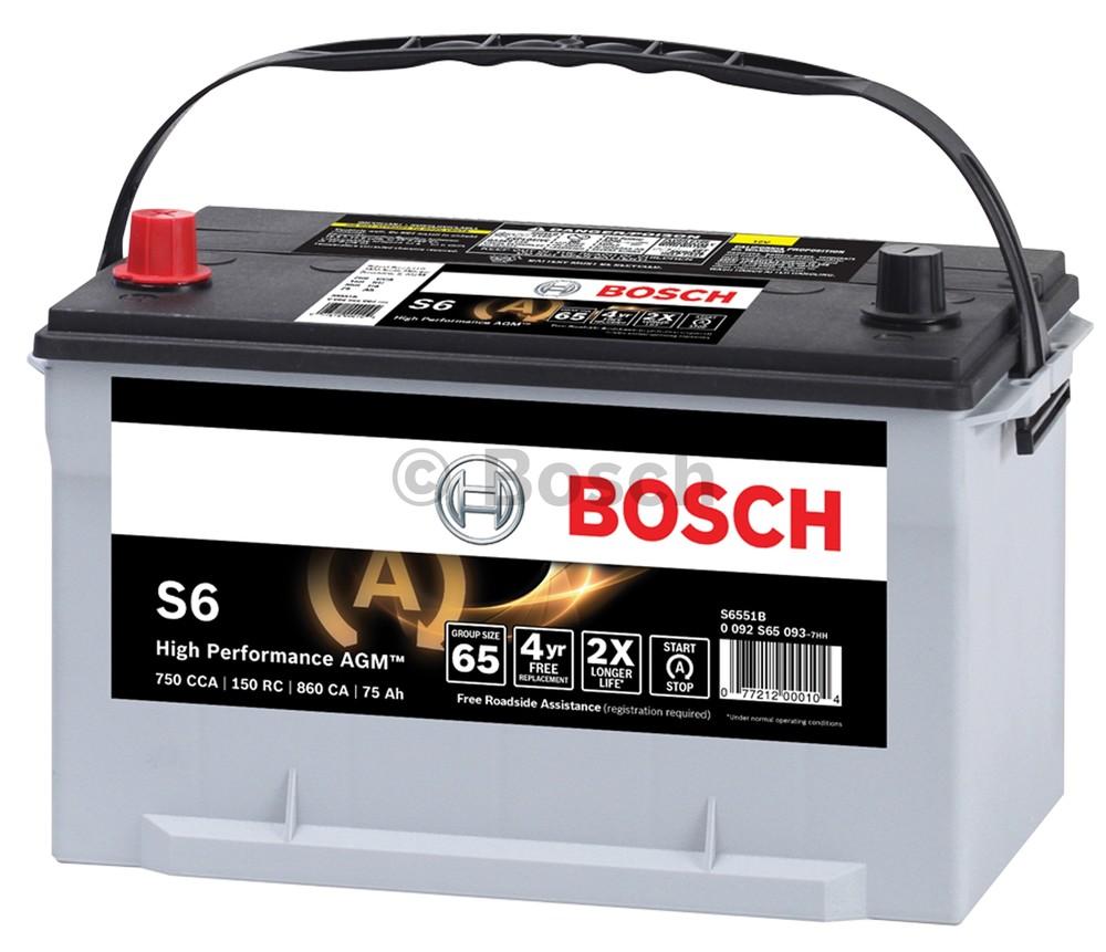 Imagen de Batería AGM regulada por válvula para Mercedes-Benz Mazda Nissan Toyota Saab Honda Kia Isuzu Ford Subaru... Marca BOSCH Número de Parte S6523B