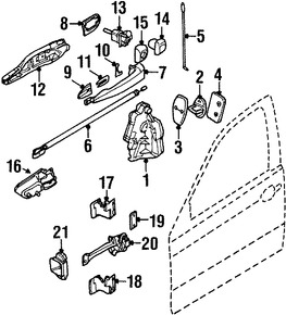 Imagen de Conjunto de pestillo de puerta Original para BMW 323i 1999 2000 BMW 328i 1999 2000 Marca BMW Número de Parte 51217011308