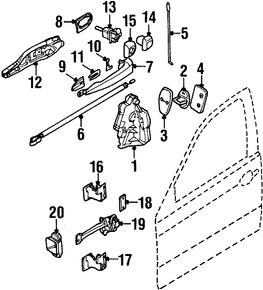 Imagen de Conjunto de pestillo de puerta Original para BMW 323Ci 2000 BMW 328Ci 2000 Marca BMW Número de Parte 51218208716