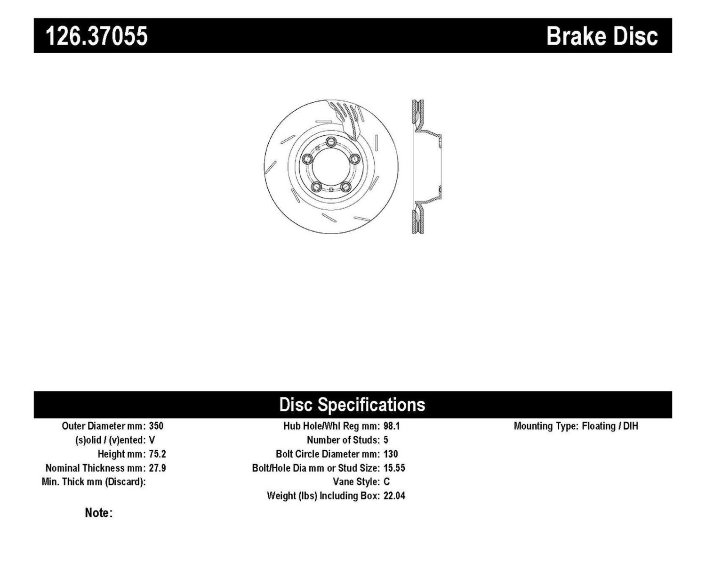 Imagen de Rotor disco de freno ranurado tipo OE para Porsche 911 Porsche Panamera Marca CENTRIC PARTS Número de Parte 126.37055