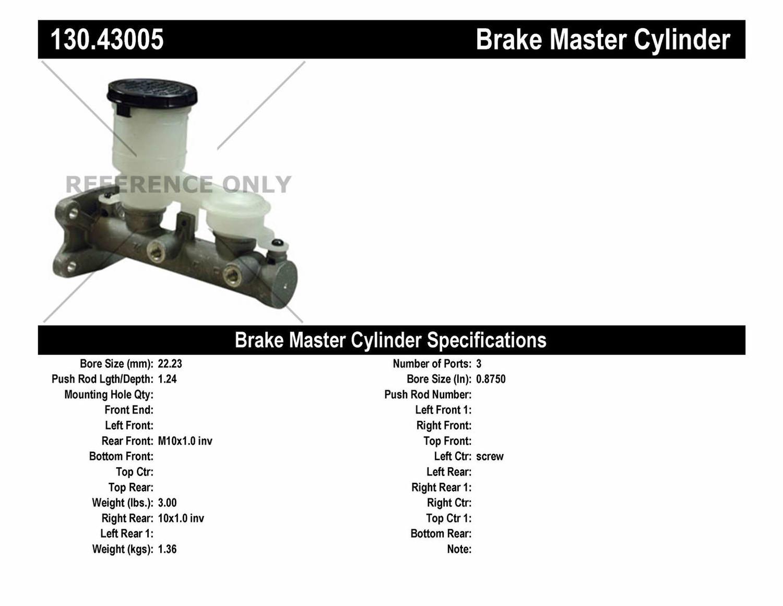 Imagen de Cilindro Maestro de Freno Premium para Isuzu Impulse 1984 Chevrolet LUV 1981 1982 Marca CENTRIC PARTS Número de Parte 130.43005