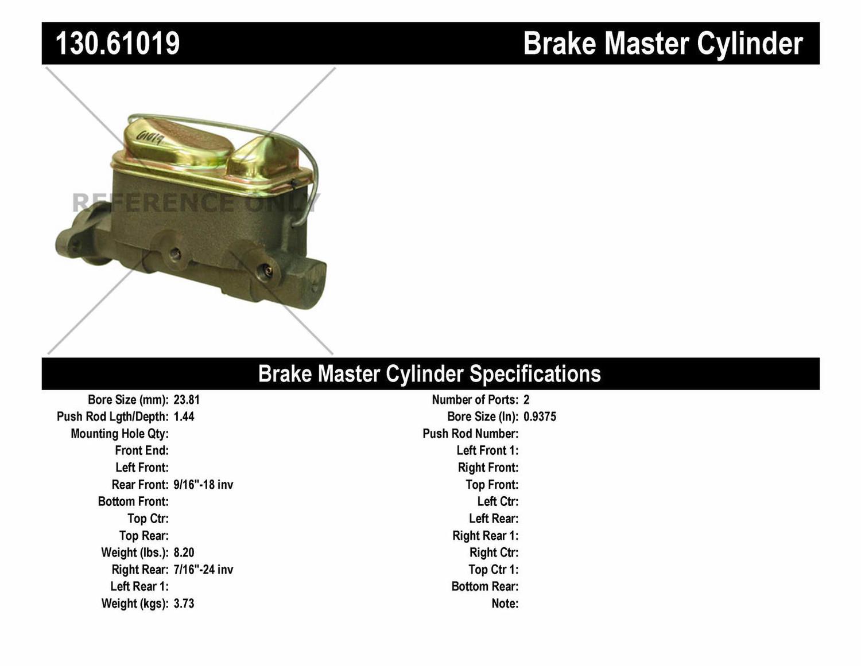 Imagen de Cilindro Maestro de Freno Premium para Ford Galaxie 500 1972 Marca CENTRIC PARTS Número de Parte 130.61019