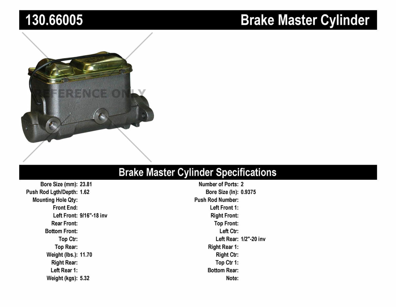 Imagen de Cilindro Maestro de Freno Premium para GMC G35 1975 Marca CENTRIC PARTS Número de Parte 130.66005