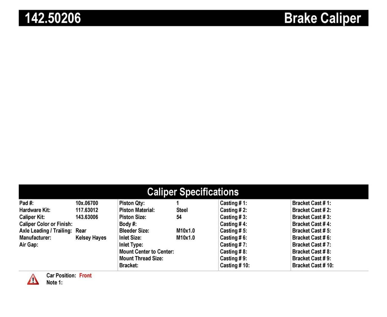 Imagen de Caliper de Freno de Disco para Kia Sportage 1995 1996 1997 Marca CENTRIC PARTS Número de Parte #142.50206