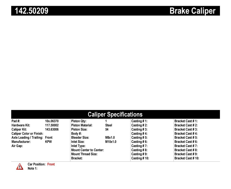 Imagen de Caliper de Freno de Disco para Kia Sephia 2001 Kia Spectra 2001 2002 2003 Marca CENTRIC PARTS Número de Parte #142.50209