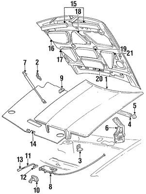 Imagen de Soporte de Elevación Puerta Trasera Original para Chrysler TC Maserati 1989 1990 Marca CHRYSLER Número de Parte 4463087