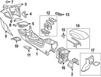 Imagen de Consola Central Original para Dodge Dart 2013 Marca CHRYSLER Número de Parte 1YZ98LA3AD