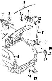 Imagen de Soporte Elevación Puerta Trasera Original para Dodge Magnum 2006 2007 2008 Marca CHRYSLER Número de Parte 4589626AA