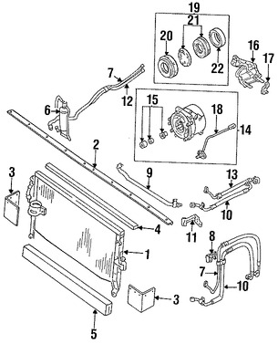 Imagen de Condensador de Aire Acondicionado Original para Dodge Ram 50 1988 1989 Marca CHRYSLER Número de Parte 4443024