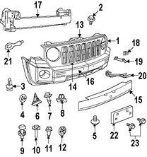 Imagen de Cubierta del parachoques Original para Jeep Patriot 2007 2008 2009 2010 Marca CHRYSLER Número de Parte 68021299AB