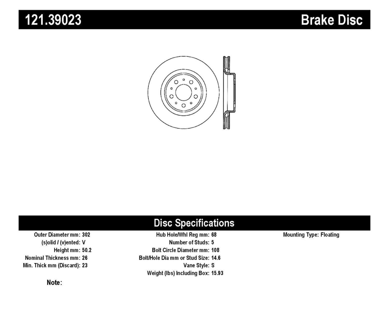 Imagen de Rotor del Disco de freno Estandar para Volvo C70 2000 Marca C-TEK Número de Parte 121.39023