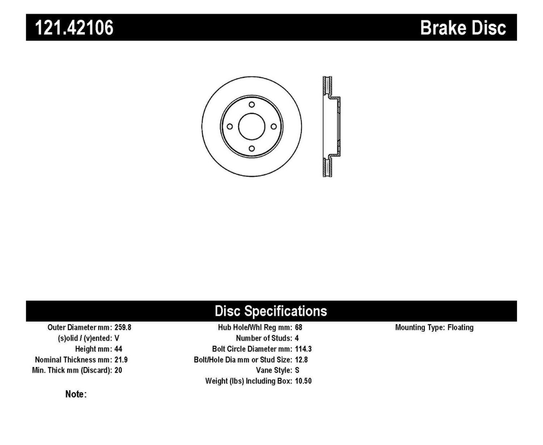 Imagen de Rotor disco de freno Estandar para Nissan Versa 2009 2011 Marca C-TEK Número de Parte 121.42106