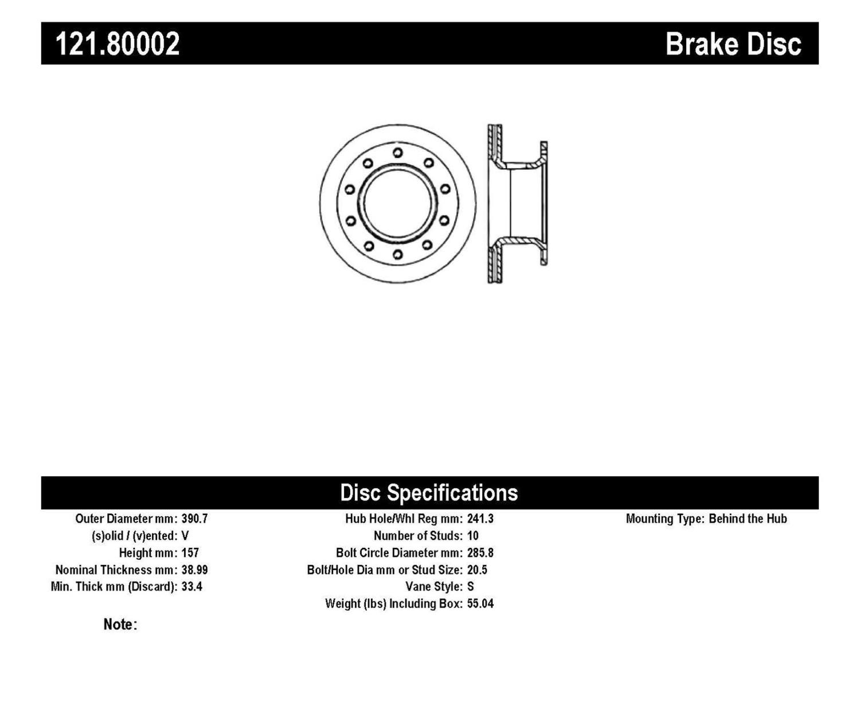 Imagen de Rotor disco de freno Estandar para Chevrolet C7500 Kodiak 2001 GMC C6500 Topkick 2002 GMC T6500 1999 Marca C-TEK Número de Parte 121.80002