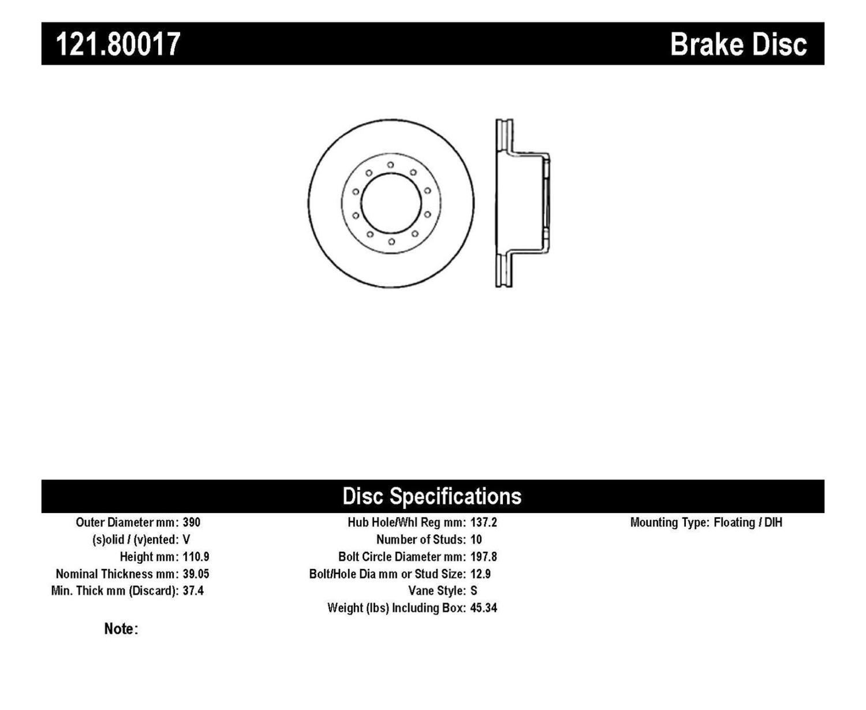 Imagen de Rotor disco de freno Estandar para GMC C5500 Topkick 2006 Marca C-TEK Número de Parte 121.80017