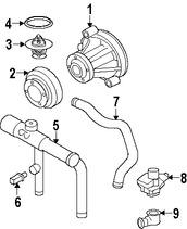 Imagen de Carcasa del termostato del refrigerante del motor Original para Lincoln Aviator 2003 2004 2005 Marca FORD Número de Parte 2C5Z8592EB