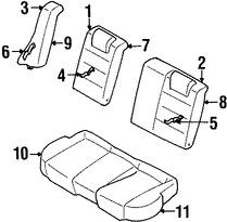 Imagen de Cojin de respaldo de Asiento Original para Ford Escort 1997 1998 Mercury Tracer 1997 1998 Marca FORD Número de Parte F7CZ5466801AA