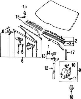 Motor y Bomba de agua del limpiaparabrisas para Honda
