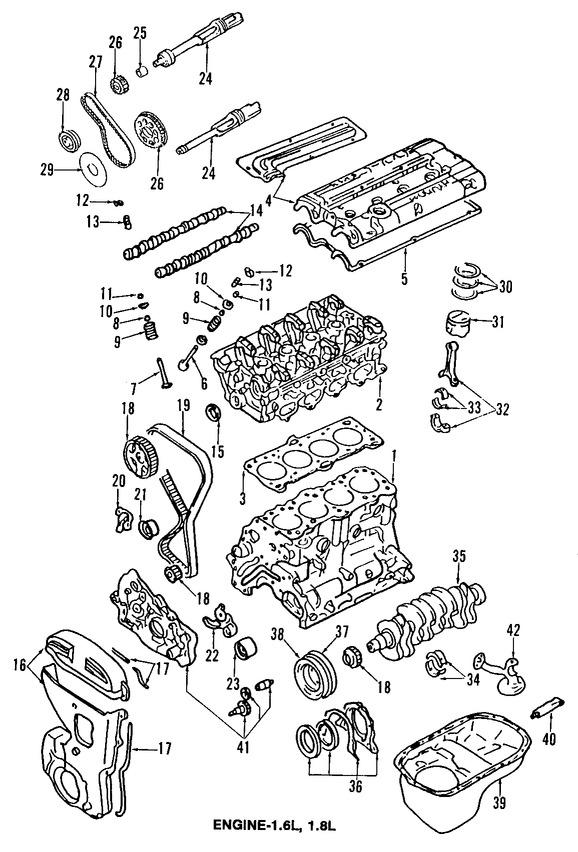 arbol de leva  buzo hidraulico  cadena del tiempo para hyundai elantra 1993