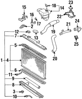 Imagen de Radiador Original para Lexus ES300 1992 1993 Marca LEXUS Número de Parte 1640062150