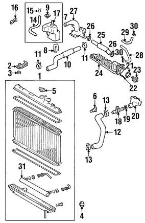Imagen de Tapa del Tanque de recuperación de Refrigerante Original para Lexus RX300 1999 2000 Marca LEXUS Número de Parte 1640574320