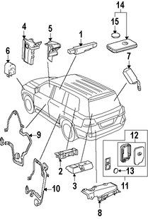 Imagen de Control Remoto Inalámbrico Puerta y Alarma Original para Lexus LX570 2008 Marca LEXUS Número de Parte 8990450642