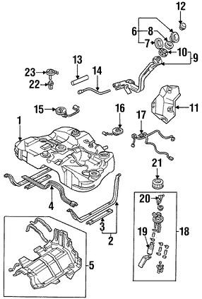Imagen de Tanque de Combustible Original para Mazda Millenia 1995 1996 Marca MAZDA Número de Parte T00142110E