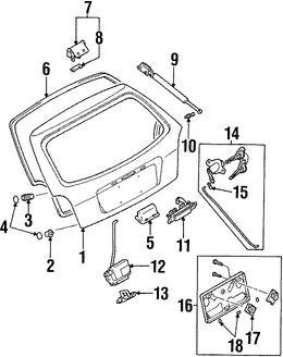 Imagen de Soporte Elevación Puerta Trasera Original para Mazda Protege5 2003 2002 Mazda Protege 2002 2003 Marca MAZDA Número de Parte B25R63620C