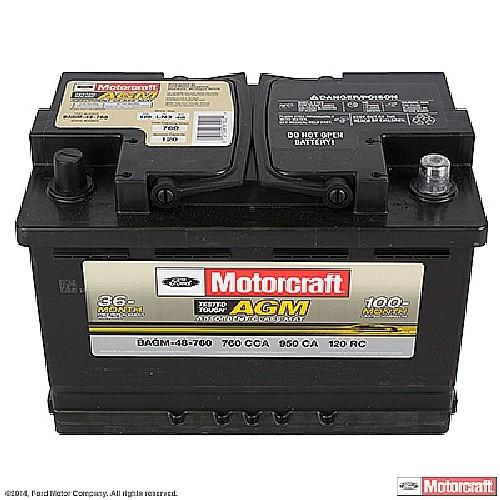 Imagen de Batería Tested Tough Max para BMW Mercedes-Benz Volvo Peugeot Saab Porsche Audi GMC Hyundai Buick... Marca MOTORCRAFT Número de Parte #BAGM-48-760