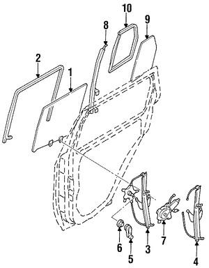 cristal de puerta para nissan pathfinder 2004 2004 Infiniti QX4 Rear