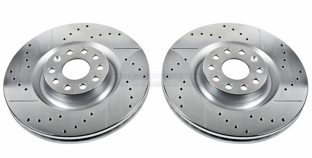 Imagen de Conjunto de Rotor del Disco de Freno Extreme Performance Ranurado y Perforado para Volkswagen Golf 2013 Volkswagen Passat 2006 Marca POWER STOP Número de Parte EBR832XPR