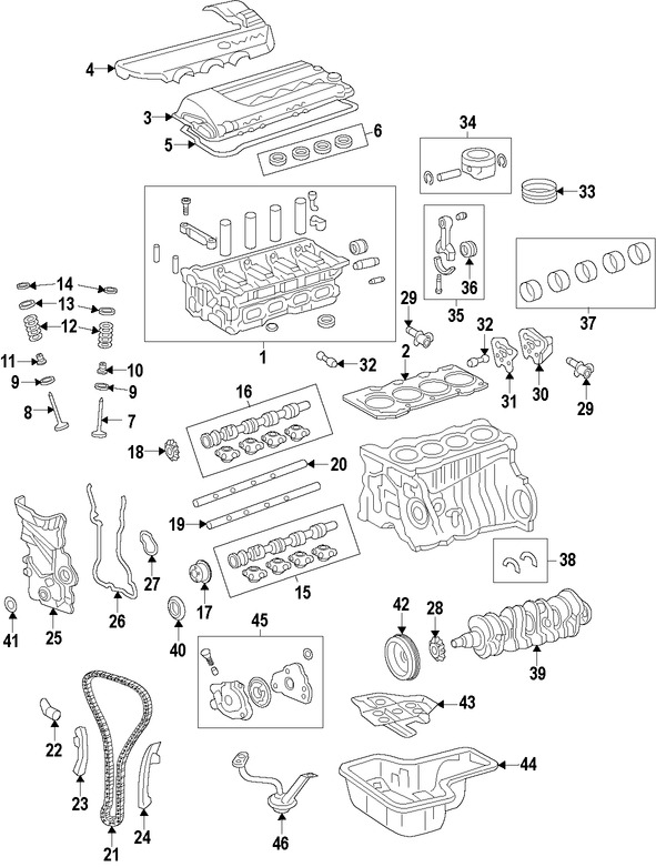 cadena del tiempo del motor para toyota corolla 2005