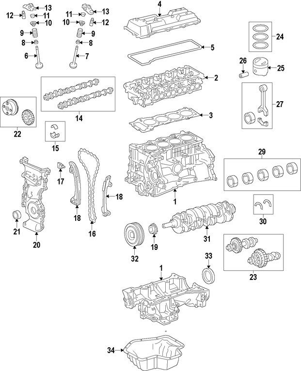 arbol de leva  buzo hidraulico  cadena del tiempo para toyota rav4 2015