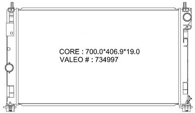 Imagen de Radiador para Dodge Caliber 2007 Jeep Compass 2008 Marca VALEO Número de Parte #734997