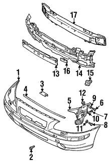 Imagen de Cubierta del parachoques Original para Volvo S60 2001 2002 2003 Marca VOLVO Número de Parte 39963909
